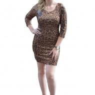 Rochie eleganta, de culoare maro animal print din paiete