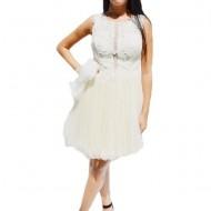 Rochie eleganta de ocazie din tull cu insertii de dantela si margele de culoare bej