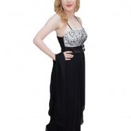 Rochie eleganta, design modern, croiala evazata, nuanta negru-alb