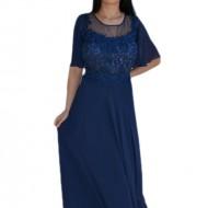 Rochie eleganta din voal combinat cu dantela eleganta, bleumarin