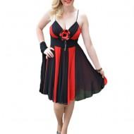 Rochie eleganta , rosie , cu benzi negre din voal