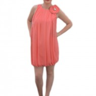 Rochie eleganta scurta, cu elastic in partea de jos, din voal roz