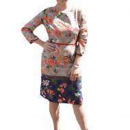 Rochie eleganta Summer ,imprimeu cu flori corai ,nuanta crem