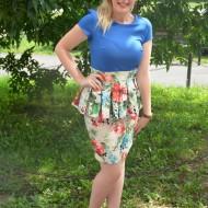 Rochie eleganta, tip costumas, albastra sus si inflorata jos