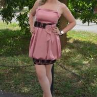 Rochie eleganta, tip gogosar, din saten roz