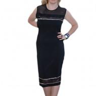 Rochie feminina de vara, culoare neagra, insertii de tul si strasuri