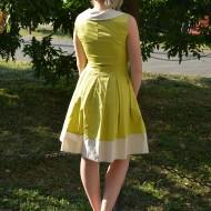 Rochie feminina, eleganta, cu croi evazat de culoare crem-kiwi