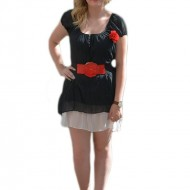 Rochie feminine de vara, culoare negru cu buline albe