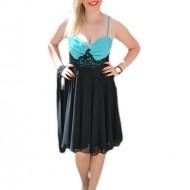 Rochie fina din voal ,culoare negru-turcoaz