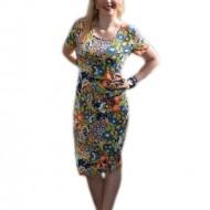 Rochie lejera de zi, cu design floral multicolor, masura mare