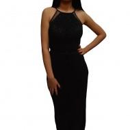 Rochie lunga de ocazie in nuanta de negru cu paiete aplicate