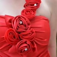Rochie lunga de seara, rafinat din saten rosu