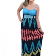 Rochie lunga de vara, cu figuri geometrice multicolore, lejera