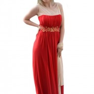 Rochie lunga, eleganta, de culoare rosie, din voal cu broderie