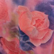 Rochie moderna, cu imprimeu floral spectaculos de colorat