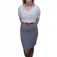 Rochie moderna, nuanta de bleumarin-alb, design dungat