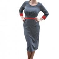 Rochie pepit de culoare negru-alb cu insertie de material rosu