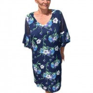 Rochie rafinata ,croi lejer cu imprimeu floral bleumarin-turcoaz