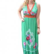 Rochie rafinata model lung, de culoare verde cu design floral