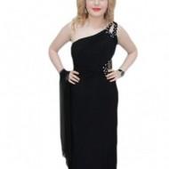 Rochie rafinata, model lung one-shoulder, de culoare neagra
