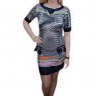Rochie scurta, nuanta de bleumarin, design interesant aplicat