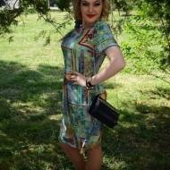 Rochie simpla de vara, masura mare, nuanta bleumarin-verde