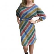 Rochie tinereasca cu design de dungi multicolore, material fin
