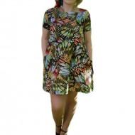 Rochie tinereasca cu design de fluturi multicolore si buzunare