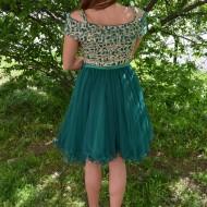 Rochie tinereasca din tul cu design de margele, greenery-auriu