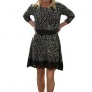 Rochie trendy cu imprimeu bicolor, nuante de negru-alb cu dantela