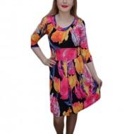 Rochie trendy cu imprimeu floral roz-portocaliu pe fond negru