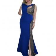 Rochie trendy nuanta albastra cu paiete negre, model lung, tineresc