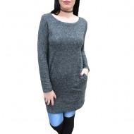Rochie tricotata cu maneca lunga si buzunare ascunse, nuanta gri