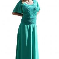 Rochie turcoaz cu aspect de costum, model lung, masura mare