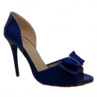 Sanda eleganta, albastra, din piele ecologica cu aspect lacuit