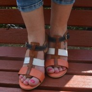 Sandale casual, din piele naturala, cu toc de 8 cm