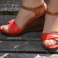 Sandale cu platforma ortopedica, din piele naturala, si talpa pepit