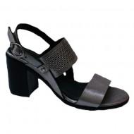 Sandale rafinate cu toc mediu argintiu
