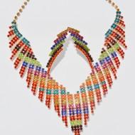 Set rafinat de bijuteri,multicolor,colier si cercei