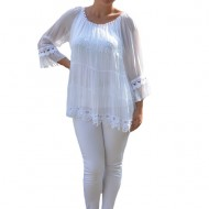 Bluza Anastasia rafinata cu insertii fine de dantela ,nuanta de alb