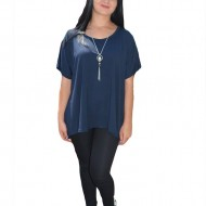 Bluza asimetrica de vara, culoare bleumarin, model simplu