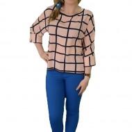 Bluza asimetrica, nuanta de plamaniu, design interesant, crapatura