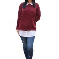 Bluza Ava casual-buusiness cu tricot din catifea ,nuanta de mov