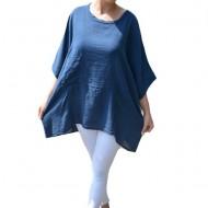 Bluza Avelia, cu croi lejer si asimetric, nuanta bleumarin