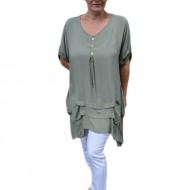 Bluza casual ,asimetrica, cu design de buzunare nuanta de verde inchis