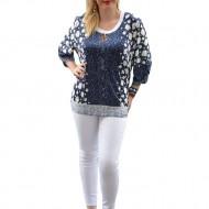 Bluza casual de dama, masura mare, bleumarin cu design alb