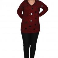 Bluza casual din tricot cu decloteu in V,marsala