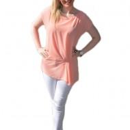 Bluza comoda cu design simplist, de culoare piersica, maneca scurta
