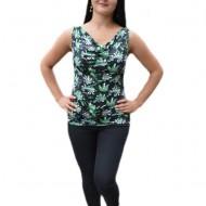 Bluza de vara cu croi drept, lejer, nuanta neagra cu design verde