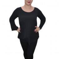 Bluza deosebita cu design plisat pe lungime, culoare neagra